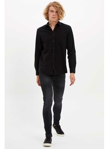 DeFacto Tek Cepli Jean Gömlek Siyah